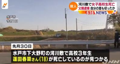 11月30日、茨城水戸市の河川敷で発生した蓮田春菜さん死亡事件