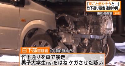 事件発生当時、日下部容疑者が運転していた軽自動車